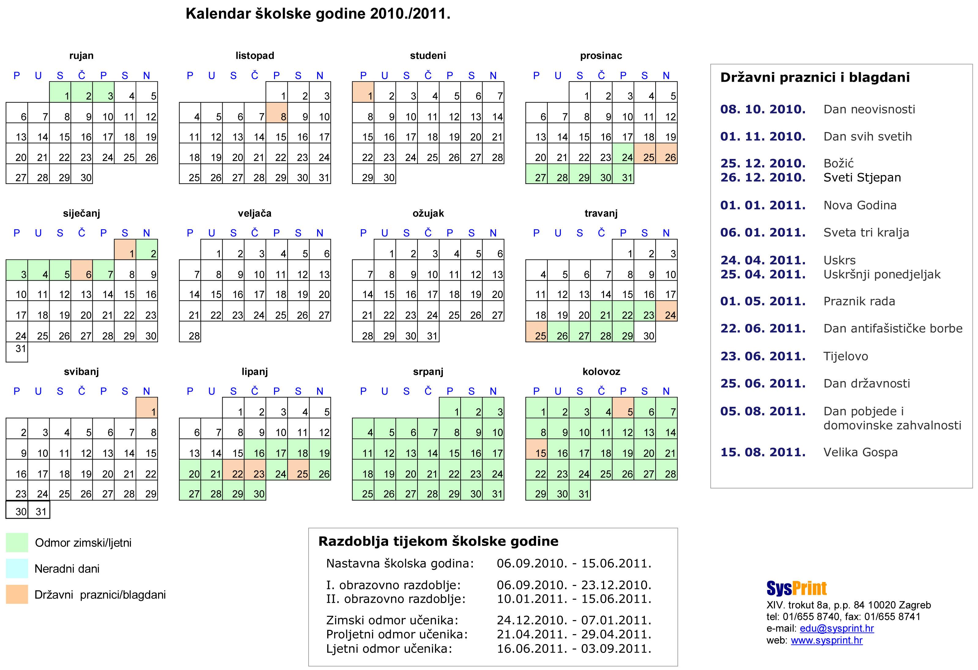 Kalendar školske godine 2010./2011.